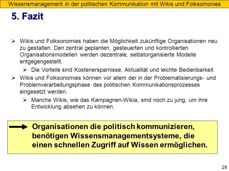 Wissensmanagement in der politischen Kommunikation mit Wikis und Folksomonies