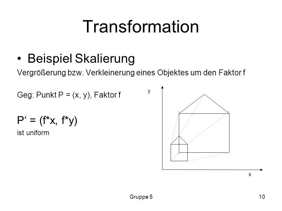 Transformation Beispiel Skalierung P' = (f*x, f*y)