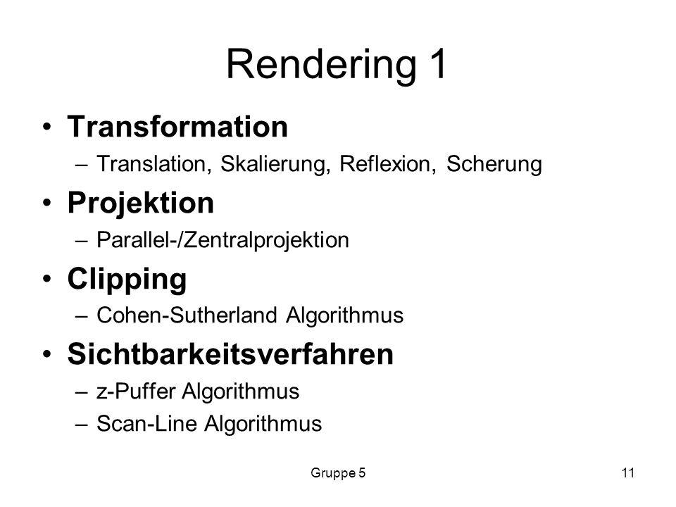 Rendering 1 Transformation Projektion Clipping Sichtbarkeitsverfahren