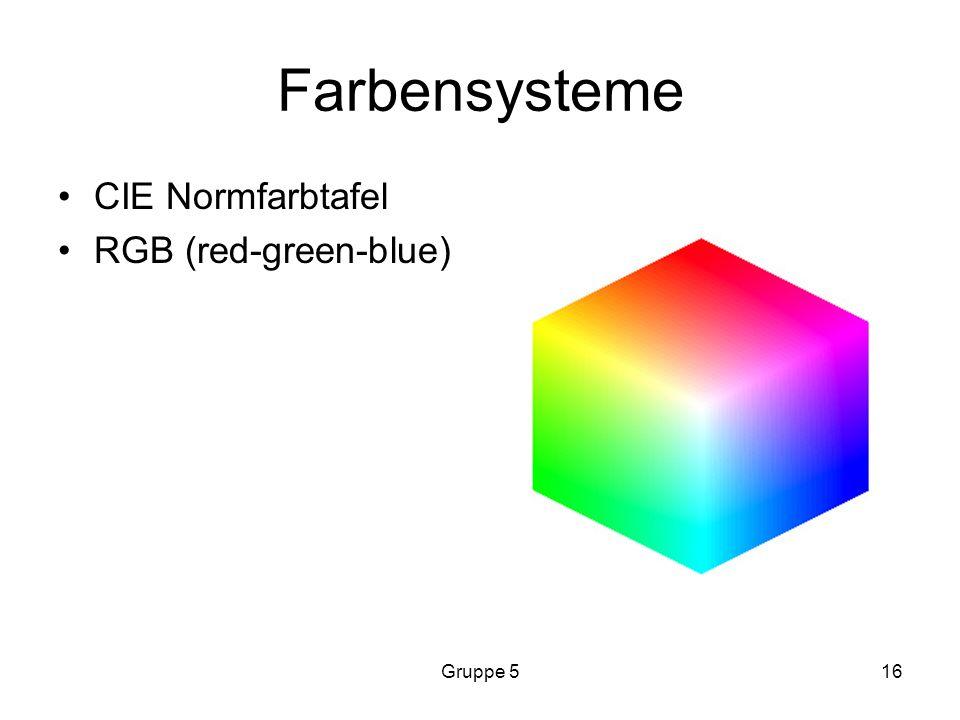 Farbensysteme CIE Normfarbtafel RGB (red-green-blue) Gruppe 5