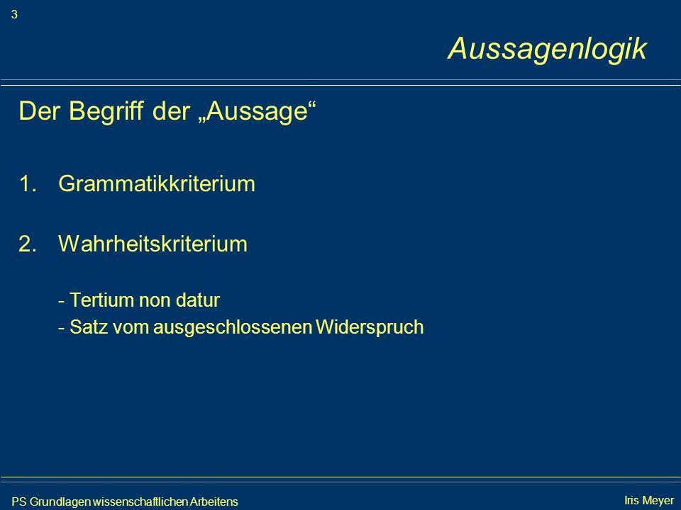 """Aussagenlogik Der Begriff der """"Aussage Grammatikkriterium"""