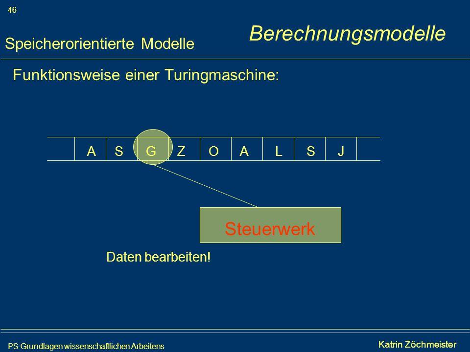Berechnungsmodelle Steuerwerk Speicherorientierte Modelle