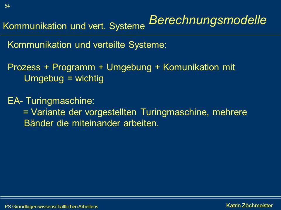 Berechnungsmodelle Kommunikation und vert. Systeme