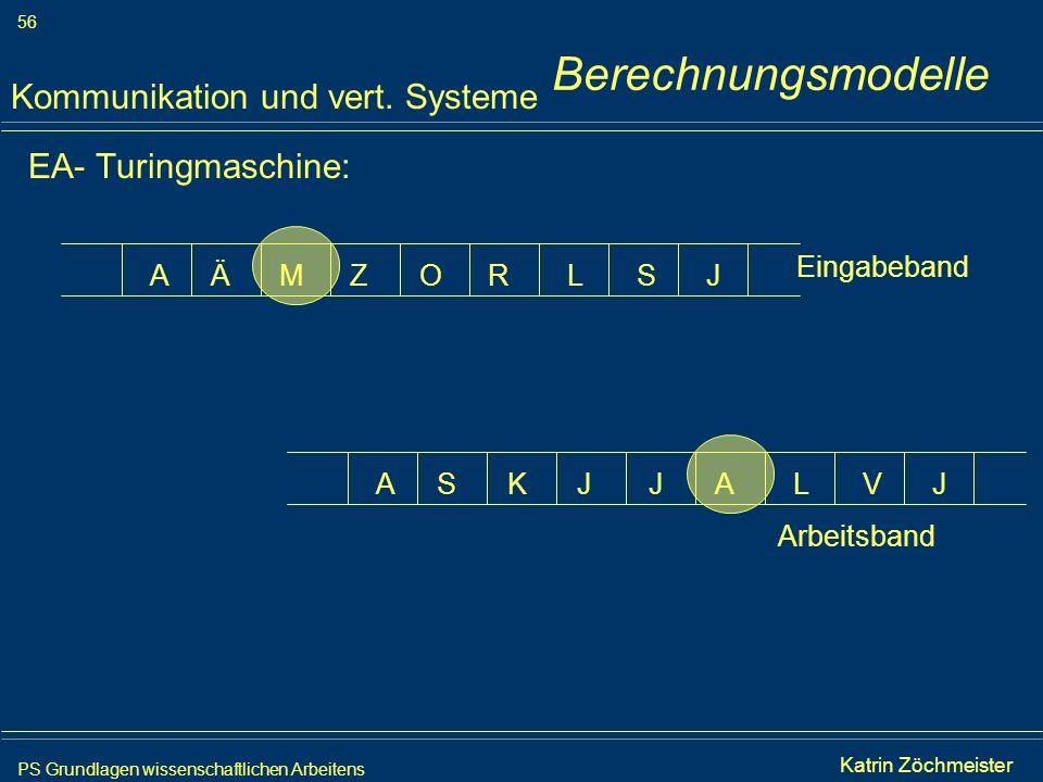 Berechnungsmodelle Kommunikation und vert. Systeme EA- Turingmaschine:
