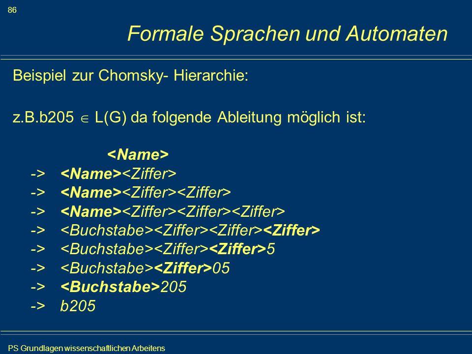 Formale Sprachen und Automaten