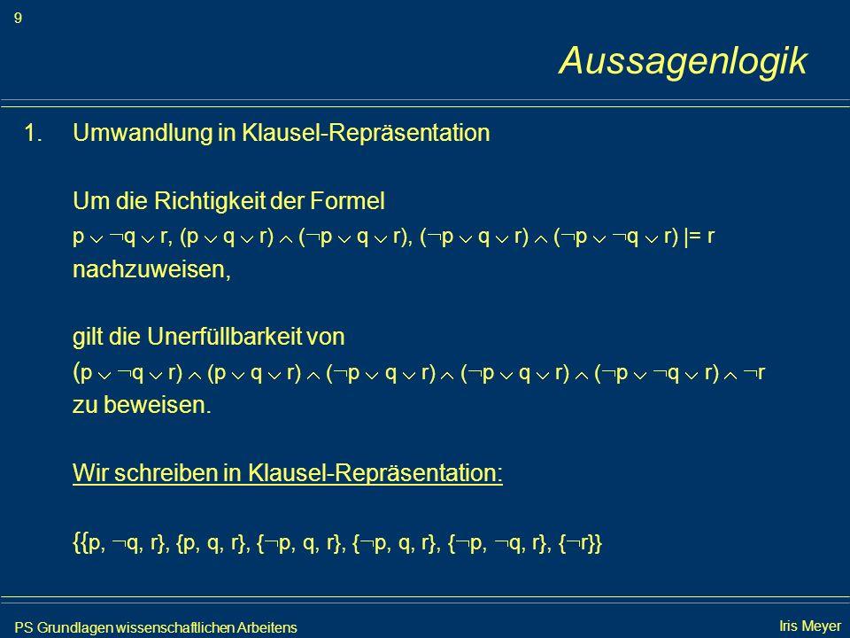 Aussagenlogik Umwandlung in Klausel-Repräsentation
