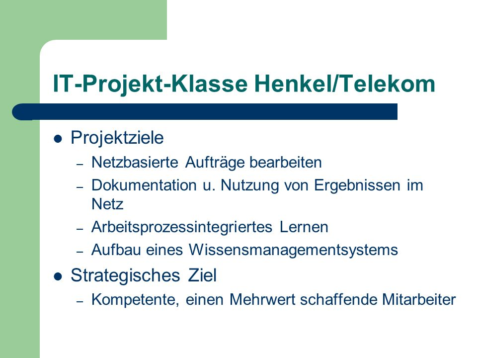 IT-Projekt-Klasse Henkel/Telekom
