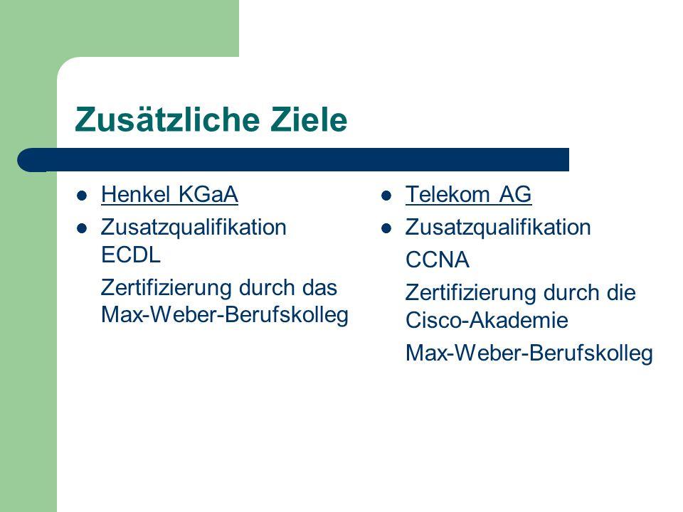 Zusätzliche Ziele Henkel KGaA Zusatzqualifikation ECDL