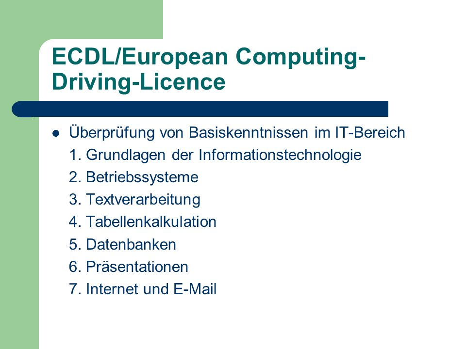 ECDL/European Computing-Driving-Licence