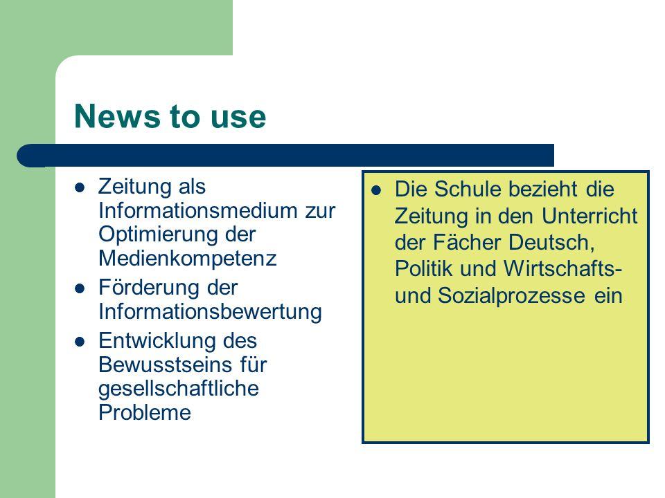 News to use Zeitung als Informationsmedium zur Optimierung der Medienkompetenz. Förderung der Informationsbewertung.