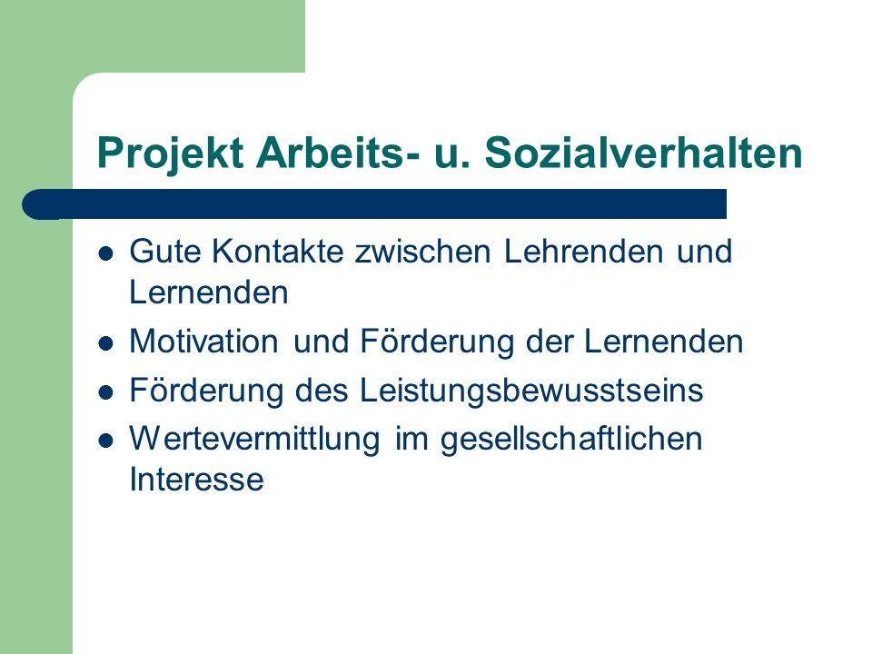 Projekt Arbeits- u. Sozialverhalten