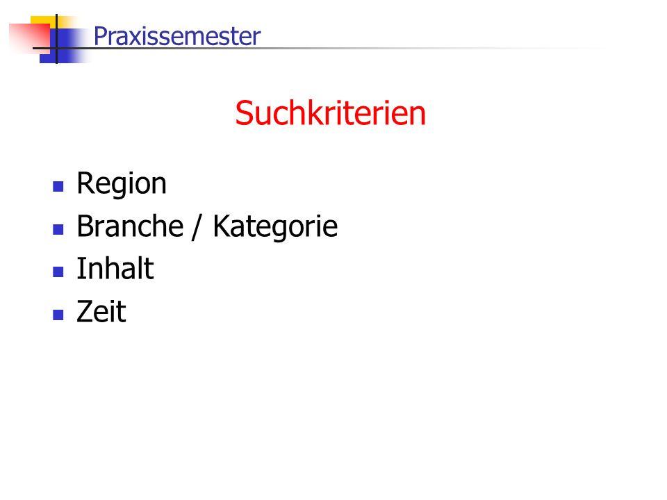 Suchkriterien Region Branche / Kategorie Inhalt Zeit