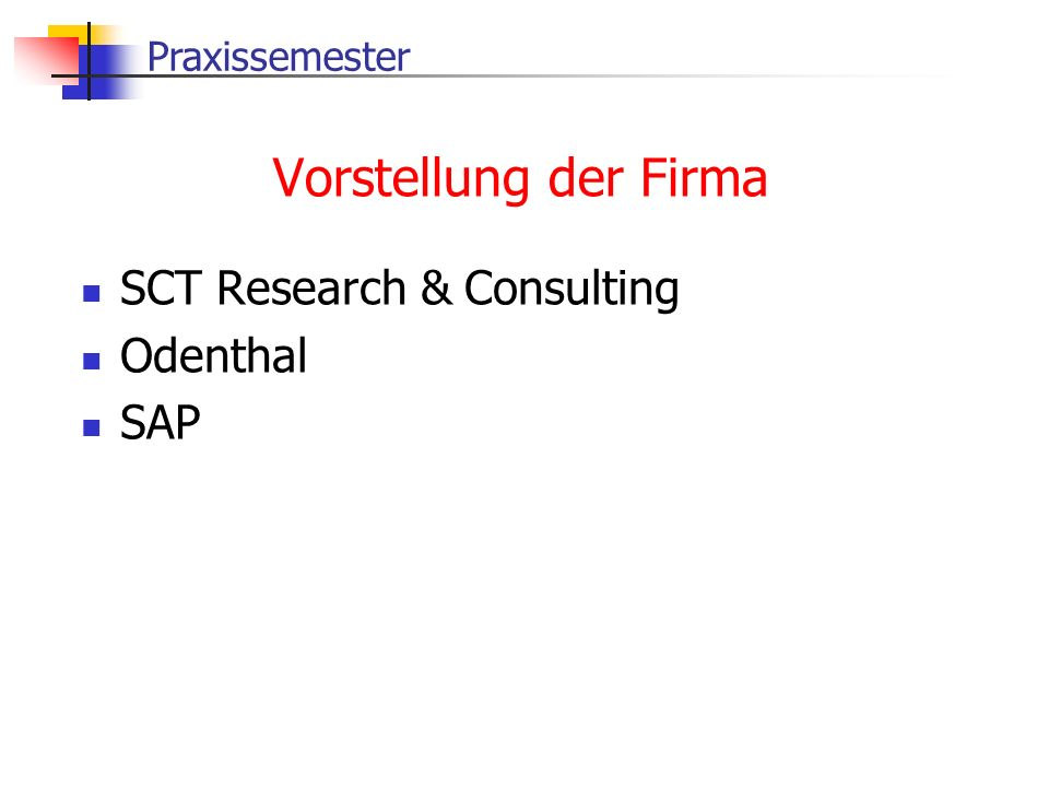 Vorstellung der Firma SCT Research & Consulting Odenthal SAP