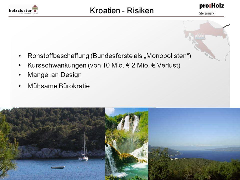 """Kroatien - Risiken Rohstoffbeschaffung (Bundesforste als """"Monopolisten ) Kursschwankungen (von 10 Mio. € 2 Mio. € Verlust)"""