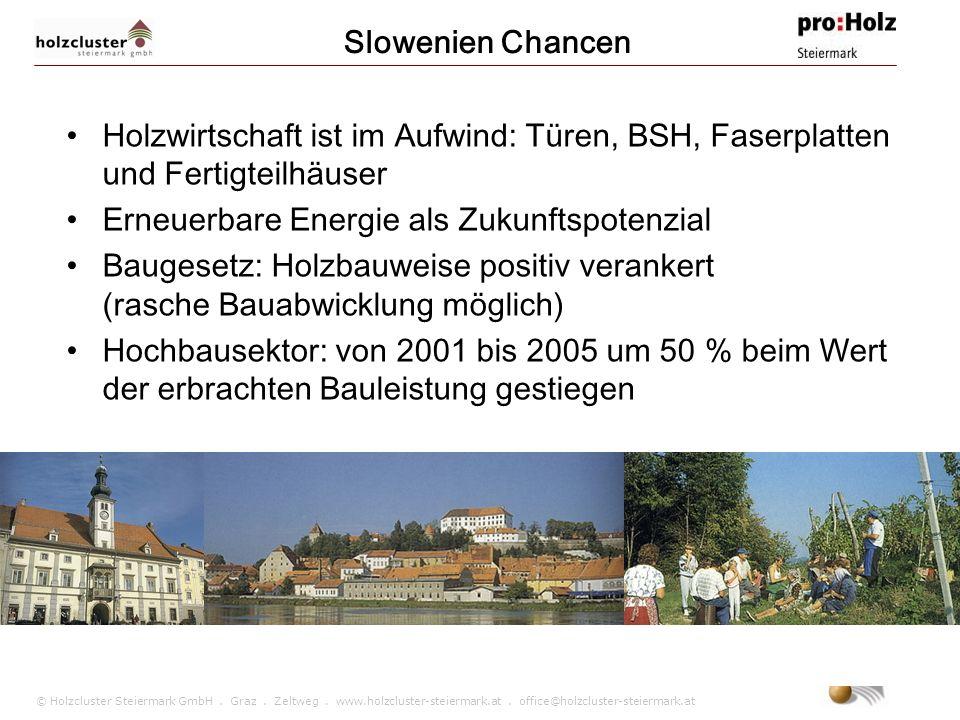 Slowenien Chancen Holzwirtschaft ist im Aufwind: Türen, BSH, Faserplatten und Fertigteilhäuser. Erneuerbare Energie als Zukunftspotenzial.