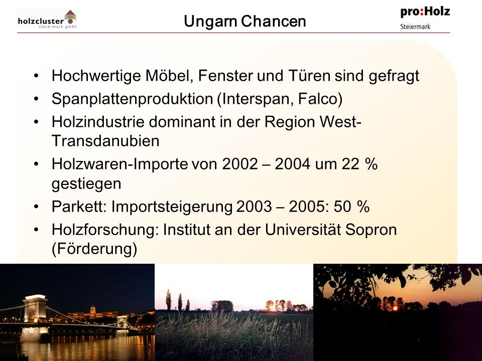 Ungarn Chancen Hochwertige Möbel, Fenster und Türen sind gefragt. Spanplattenproduktion (Interspan, Falco)