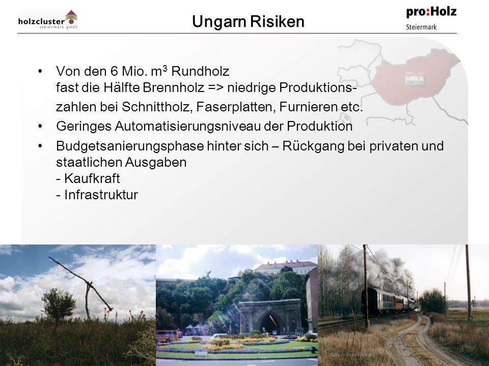 Ungarn Risiken Von den 6 Mio. m3 Rundholz fast die Hälfte Brennholz => niedrige Produktions- zahlen bei Schnittholz, Faserplatten, Furnieren etc.