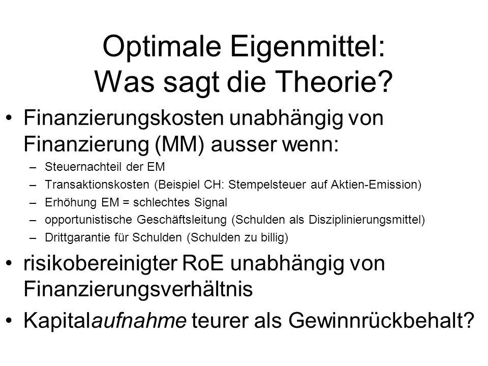 Optimale Eigenmittel: Was sagt die Theorie