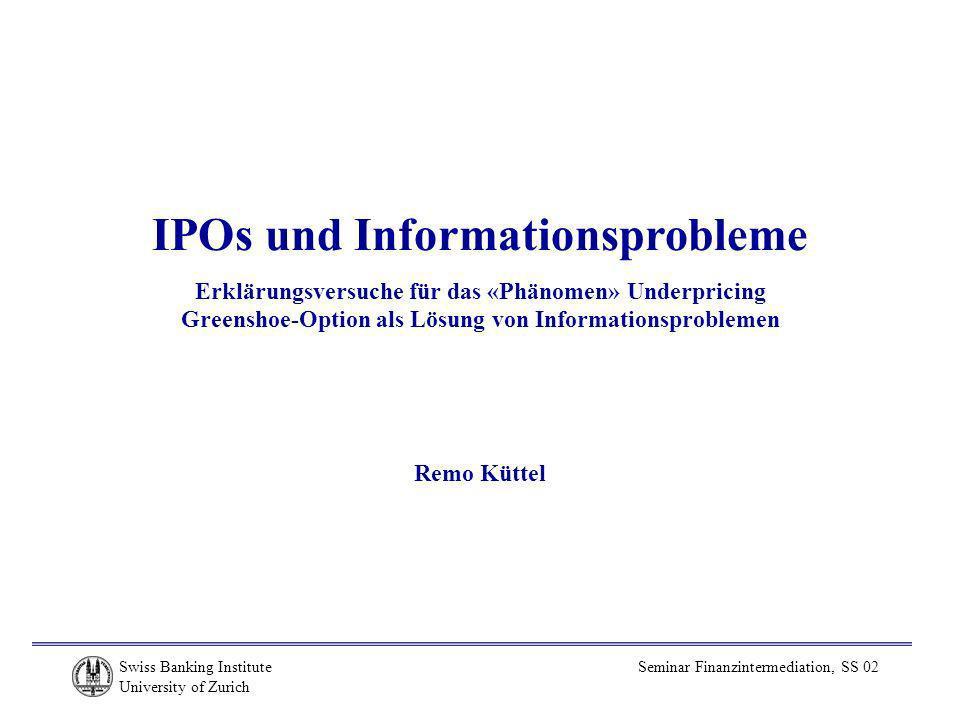 IPOs und Informationsprobleme