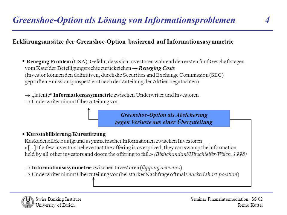Greenshoe-Option als Lösung von Informationsproblemen 4