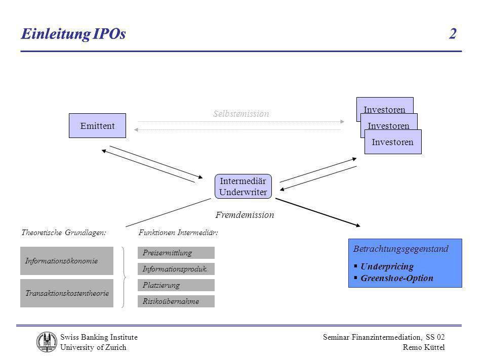 Einleitung IPOs Einleitung IPOs 2 Investoren Selbstemission Emittent