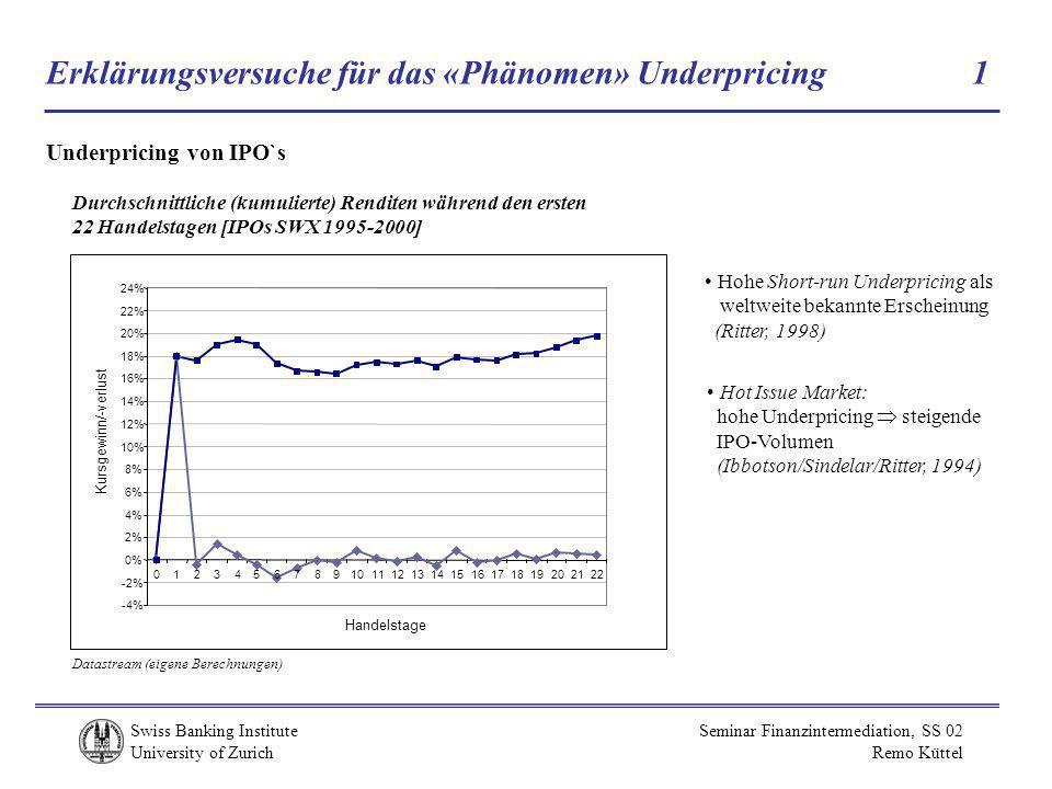Erklärungsversuche für das «Phänomen» Underpricing 1