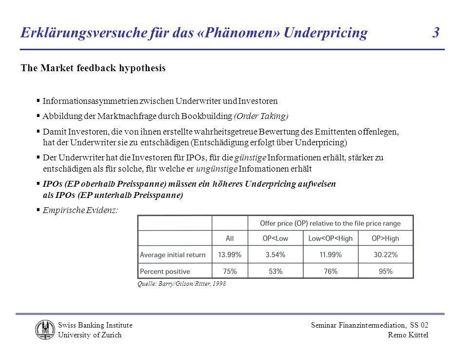 Erklärungsversuche für das «Phänomen» Underpricing 3