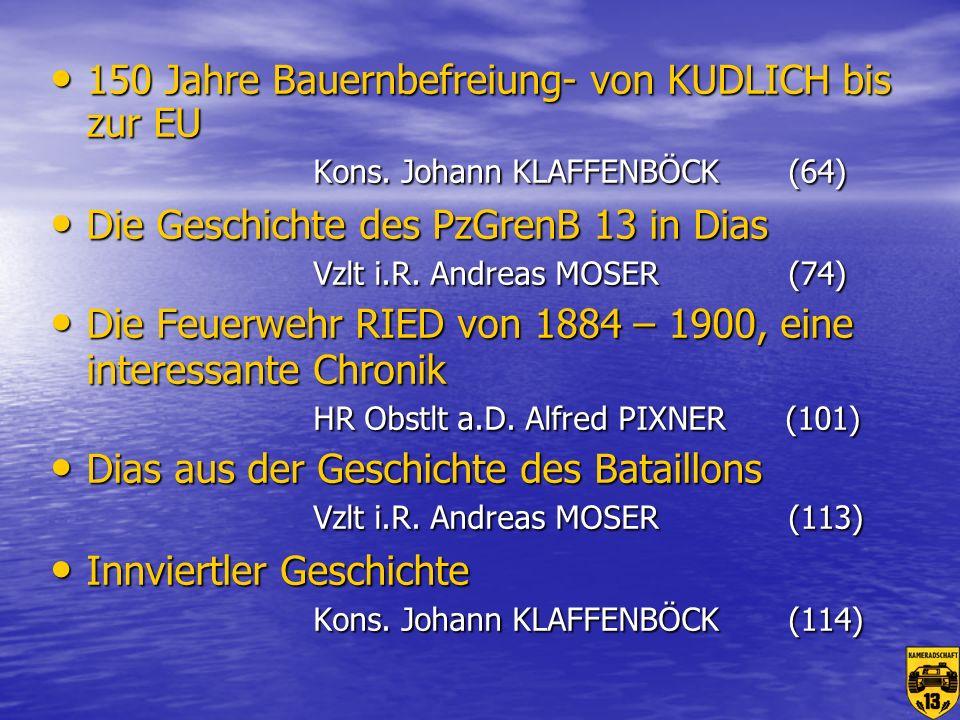 150 Jahre Bauernbefreiung- von KUDLICH bis zur EU Kons