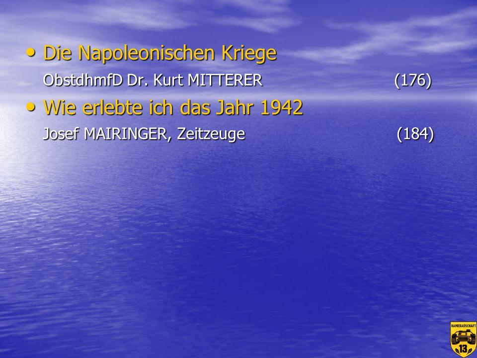 Die Napoleonischen Kriege ObstdhmfD Dr. Kurt MITTERER (176)