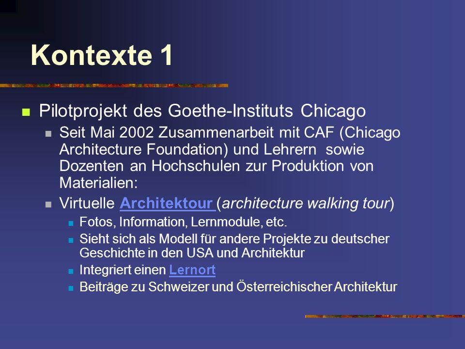 Kontexte 1 Pilotprojekt des Goethe-Instituts Chicago