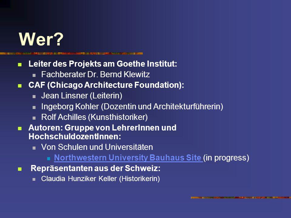 Wer Leiter des Projekts am Goethe Institut: