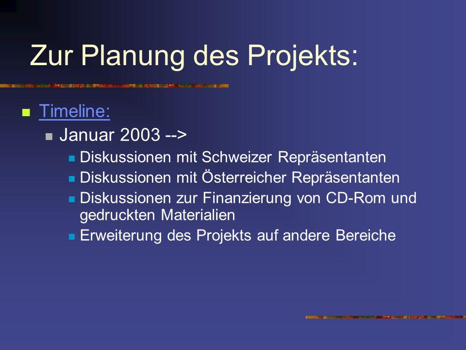 Zur Planung des Projekts: