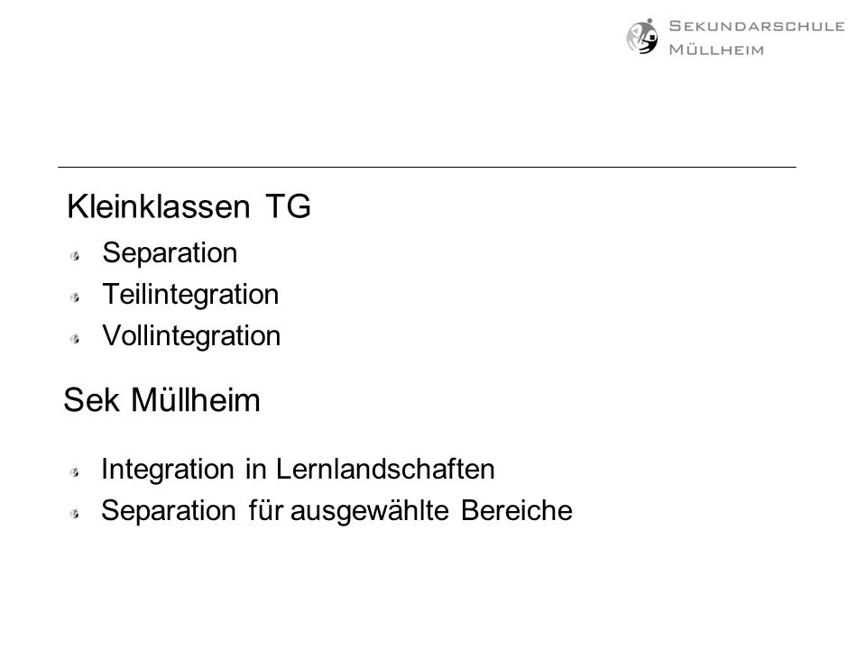 Kleinklassen TG Sek Müllheim Separation Teilintegration