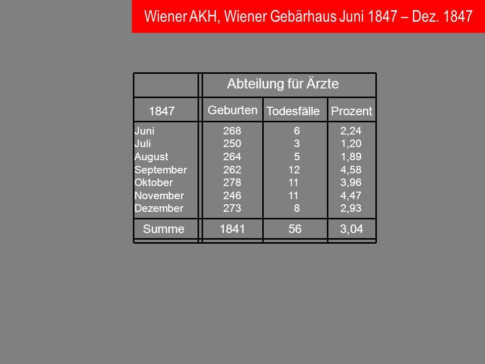 Wiener AKH, Wiener Gebärhaus Juni 1847 – Dez. 1847