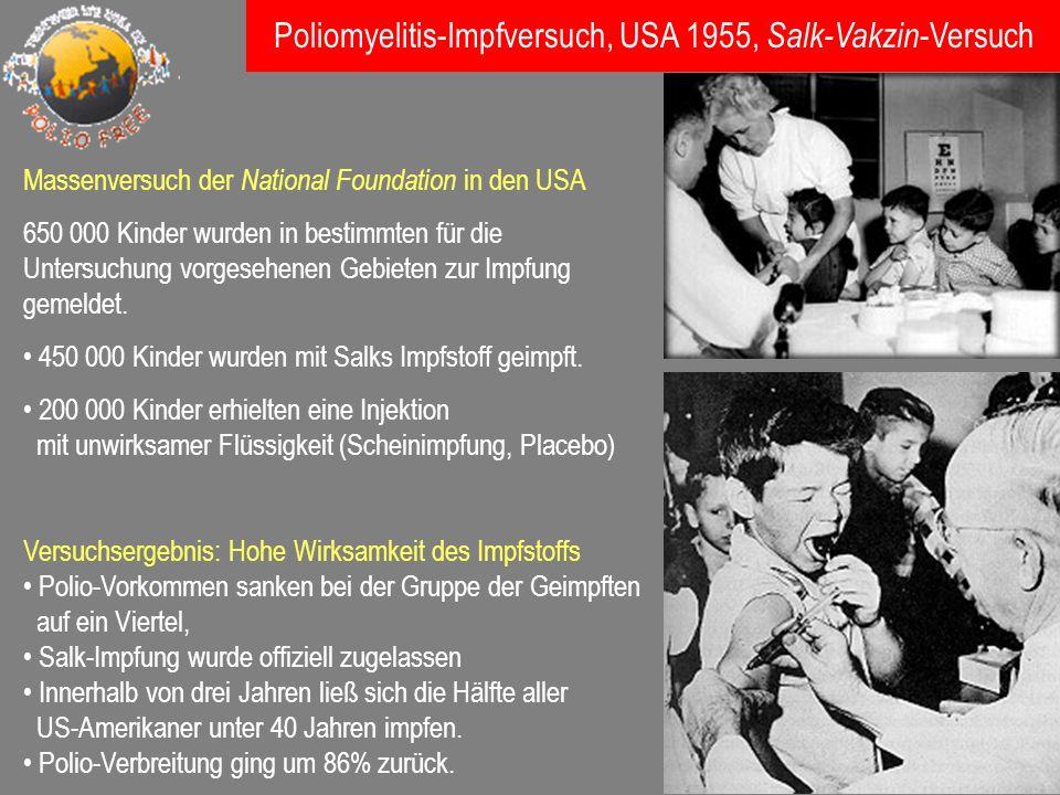 Poliomyelitis-Impfversuch, USA 1955, Salk-Vakzin-Versuch