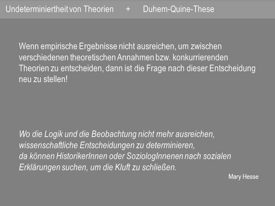 Undeterminiertheit von Theorien + Duhem-Quine-These
