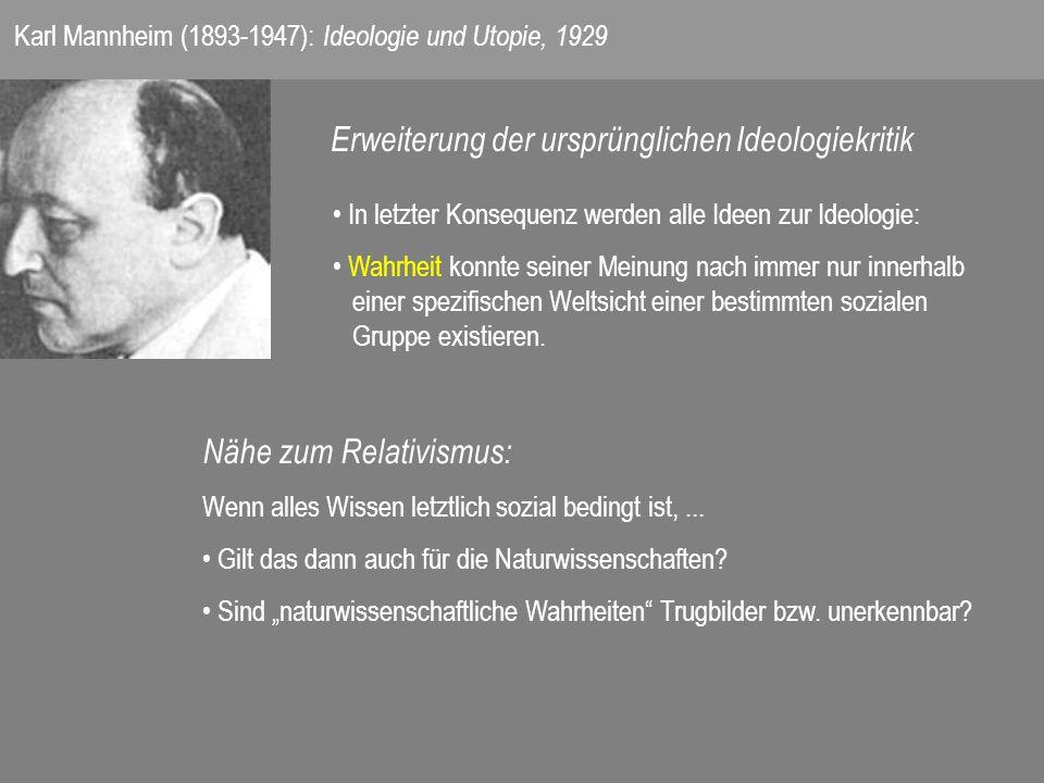 Karl Mannheim (1893-1947): Ideologie und Utopie, 1929