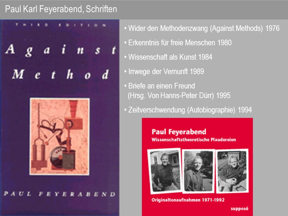 Paul Karl Feyerabend, Schriften
