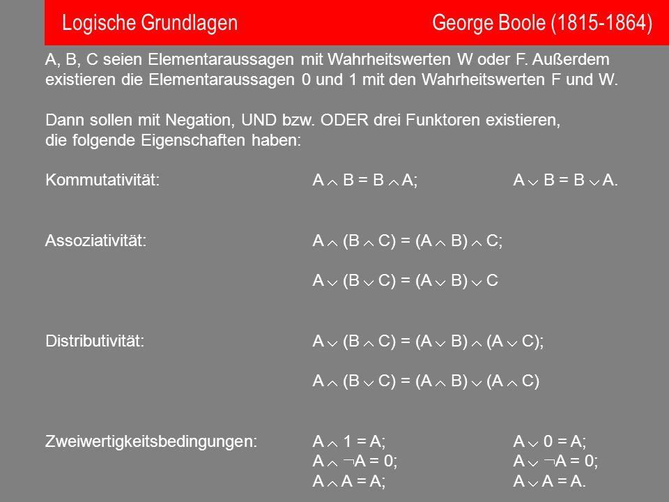 Logische Grundlagen George Boole (1815-1864)