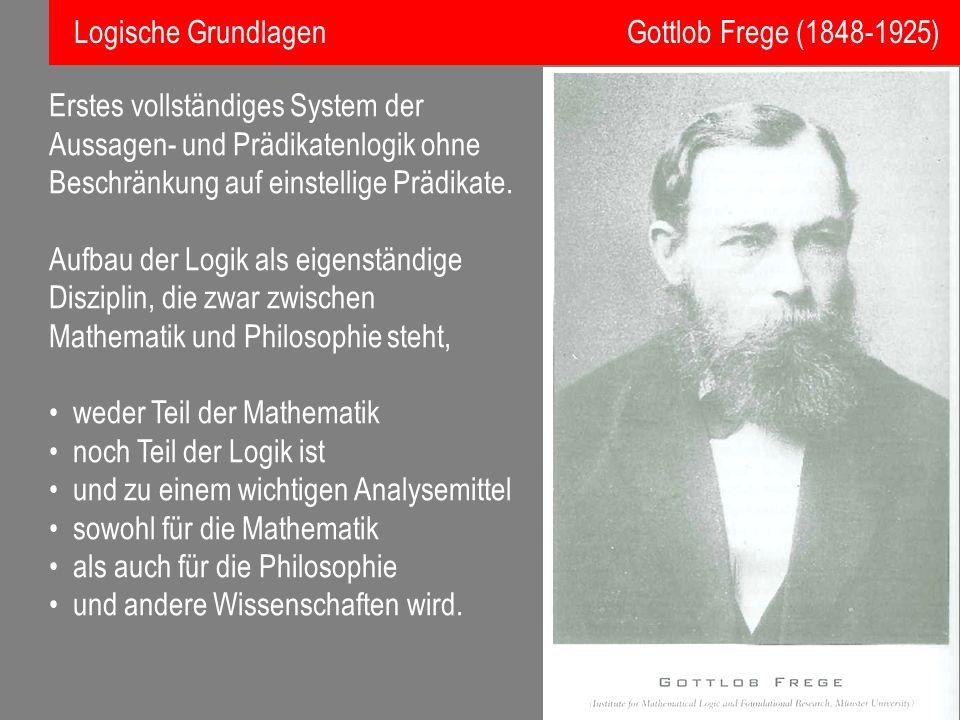 Logische Grundlagen Gottlob Frege (1848-1925)