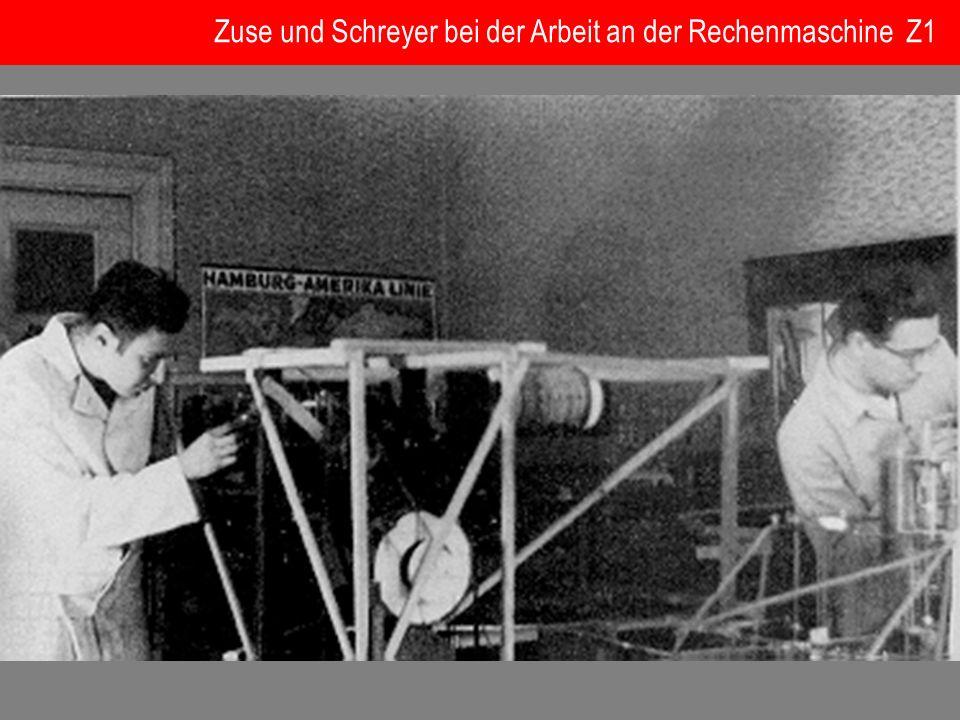 Zuse und Schreyer bei der Arbeit an der Rechenmaschine Z1