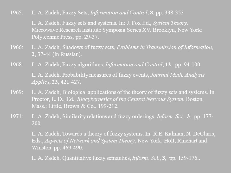 1965: L. A. Zadeh, Fuzzy Sets, Information and Control, 8, pp. 338-353
