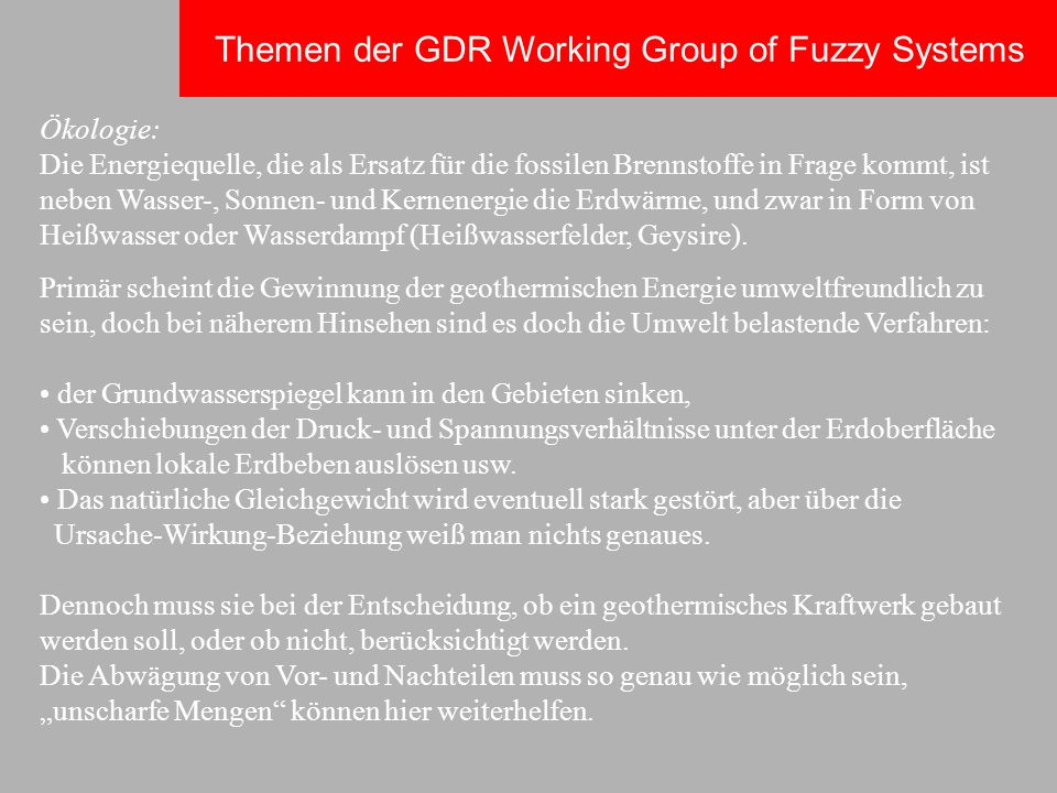 Themen der GDR Working Group of Fuzzy Systems