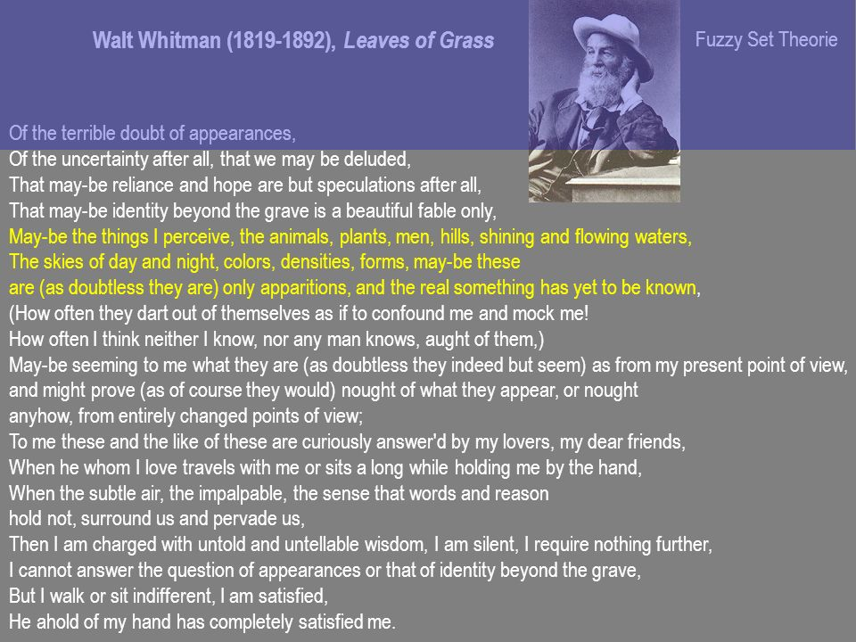 Walt Whitman (1819-1892), Leaves of Grass