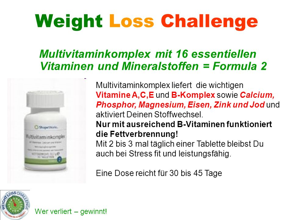 Weight Loss Challenge Multivitaminkomplex mit 16 essentiellen Vitaminen und Mineralstoffen = Formula 2.
