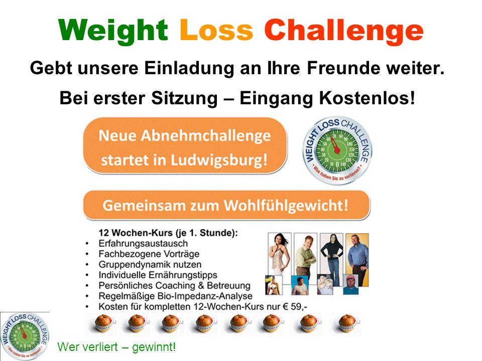 Weight Loss Challenge Gebt unsere Einladung an Ihre Freunde weiter.