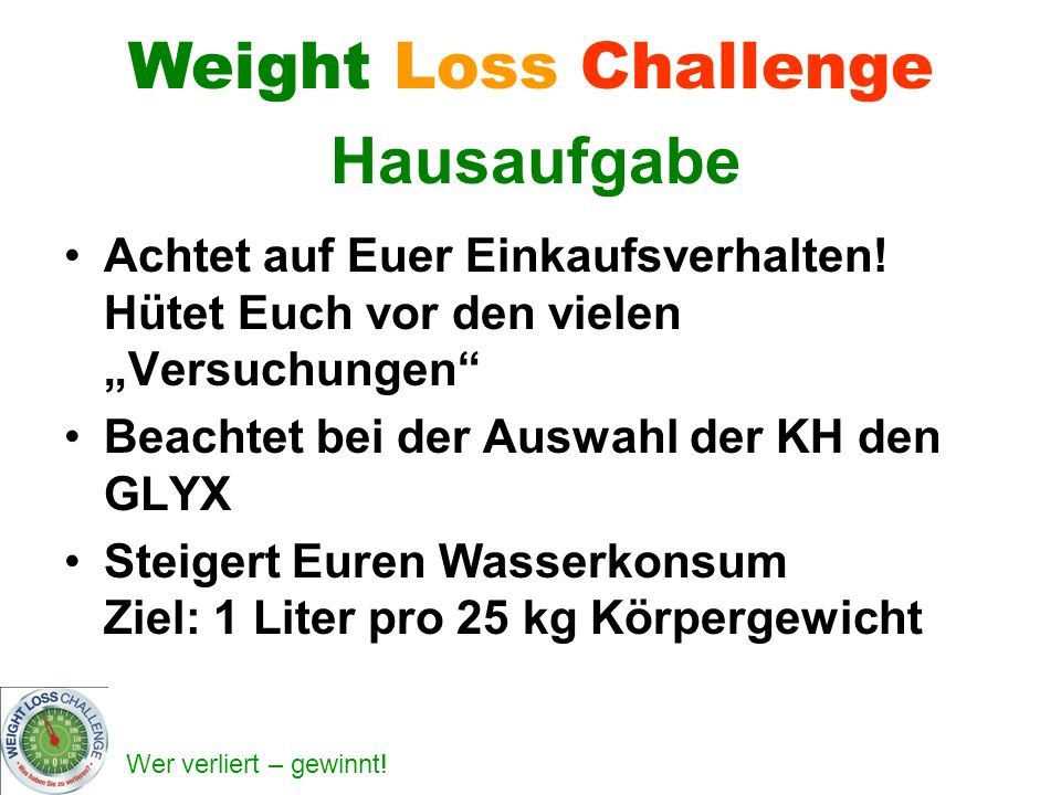 Weight Loss Challenge Hausaufgabe