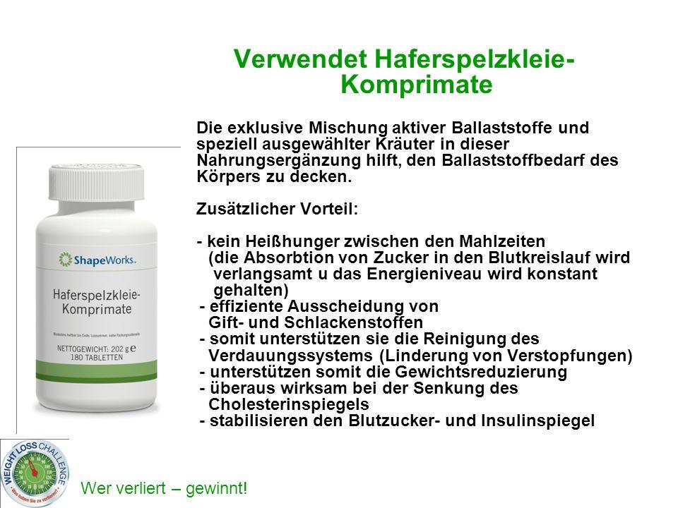 Verwendet Haferspelzkleie-Komprimate