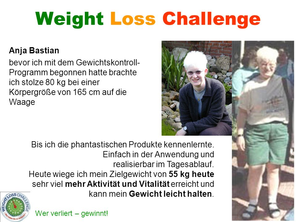 Weight Loss Challenge Anja Bastian