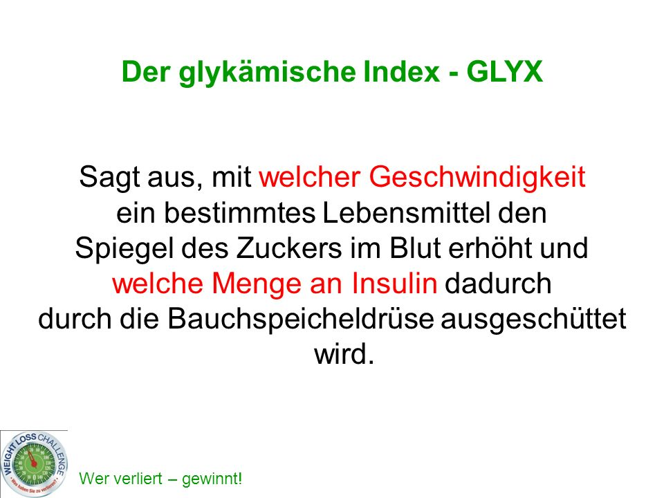 Der glykämische Index - GLYX